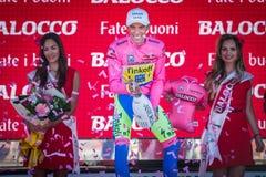 Λουγκάνο, Ιταλία στις 27 Μαΐου 2015  Alberto Contador στην εξέδρα Στοκ Εικόνες