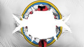 Λουθηρανικός αυξήθηκε σημαία με μια μεγάλη τρύπα απεικόνιση αποθεμάτων