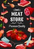 Λουκάνικα καταστημάτων κρέατος, λιχουδιές κρεοπωλείων απεικόνιση αποθεμάτων