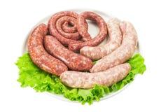 Λουκάνικα κρέατος με τη σαλάτα Στοκ Εικόνες