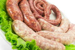 Λουκάνικα κρέατος με τη σαλάτα Στοκ Φωτογραφία