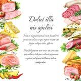 Λουκάνικο, καπνισμένα κρέας και τυρί watercolor ελεύθερη απεικόνιση δικαιώματος