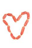 Λουκάνικο σαλαμιού μορφής καρδιών στο άσπρο υπόβαθρο στοκ εικόνες με δικαίωμα ελεύθερης χρήσης