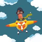 Λουκάνικο χαρακτήρα σε ένα αεροπλάνο Στοκ φωτογραφίες με δικαίωμα ελεύθερης χρήσης