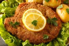 Λουκάνικο schnitzel με τις πατάτες και τη σαλάτα Στοκ εικόνα με δικαίωμα ελεύθερης χρήσης