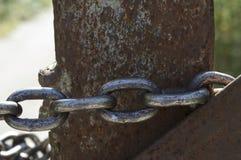 Λουκέτο στην αλυσίδα η πύλη Στοκ φωτογραφίες με δικαίωμα ελεύθερης χρήσης