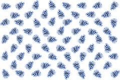 Λουλάκι χρώματος κώνων χλωρίδας σχεδίων πολλή επαναληπτική βάση υποβάθρου εικονιδίων άσπρη που τυλίγει το εορταστικό έγγραφο Στοκ Εικόνες