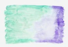 Λουλάκι lavander και περσικό πράσινο μικτό υπόβαθρο κλίσης watercolor κιρκιριών οριζόντιο Αυτό ` s χρήσιμο για το χαιρετισμό στοκ εικόνες