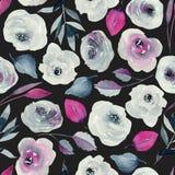 Λουλάκι Watercolor και πορφυρό άνευ ραφής σχέδιο τριαντάφυλλων στοκ φωτογραφία