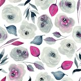 Λουλάκι Watercolor και πορφυρό άνευ ραφής σχέδιο τριαντάφυλλων στοκ εικόνες