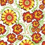 Λουλουδιών άνευ ραφής σχεδίων διανυσματική τυπωμένη ύλη ανθών υφάσματος φύλλων απεικόνισης πράσινη Στοκ φωτογραφία με δικαίωμα ελεύθερης χρήσης