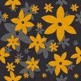 Λουλούδια, άμπελοι, άνευ ραφής σχέδιο κίτρινος και γκρίζος απεικόνιση αποθεμάτων