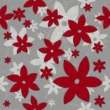 Λουλούδια, άμπελοι, άνευ ραφής σχέδιο κόκκινος και άσπρος ελεύθερη απεικόνιση δικαιώματος