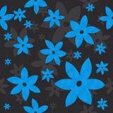 Λουλούδια, άμπελοι, άνευ ραφής σχέδιο μπλε και γκρίζος ελεύθερη απεικόνιση δικαιώματος