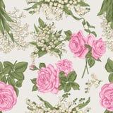 Λουλούδια άνευ ραφής διάνυσμα ανασκό καθορισμένος τρύγος απεικόνισης πουλιών χαριτωμένος διανυσματική απεικόνιση