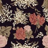 Λουλούδια άνευ ραφής διάνυσμα ανασκό καθορισμένος τρύγος απεικόνισης πουλιών χαριτωμένος Στοκ φωτογραφίες με δικαίωμα ελεύθερης χρήσης