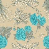 Λουλούδια άνευ ραφής διάνυσμα ανασκό καθορισμένος τρύγος απεικόνισης πουλιών χαριτωμένος Στοκ Εικόνες