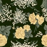 Λουλούδια άνευ ραφής διάνυσμα ανασκό καθορισμένος τρύγος απεικόνισης πουλιών χαριτωμένος Στοκ εικόνα με δικαίωμα ελεύθερης χρήσης