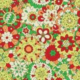 Λουλούδια Άνευ ραφής σχέδιο στο doodle και το ύφος κινούμενων σχεδίων Χρώμα απεικόνιση αποθεμάτων