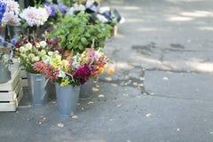 Λουλούδια ανθοδεσμών φ στα βάζα μετάλλων Στοκ Εικόνες