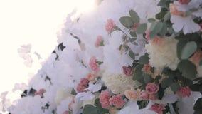 Λουλούδια γαμήλιων διακοσμήσεων απόθεμα βίντεο