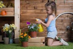 Λουλούδια εγκαταστάσεων κοριτσάκι στοκ φωτογραφία με δικαίωμα ελεύθερης χρήσης