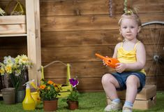 Λουλούδια εγκαταστάσεων κοριτσάκι στοκ εικόνες με δικαίωμα ελεύθερης χρήσης