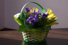 Λουλούδια Κίτρινη ανθοδέσμη τουλιπών και ίριδων Στοκ Φωτογραφία