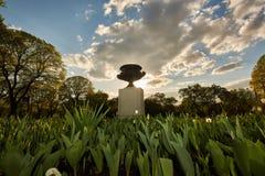Λουλούδια και γλυπτά στο πάρκο πόλεων στο ηλιοβασίλεμα στοκ εικόνες