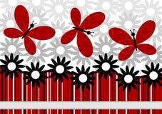 Λουλούδια και κόκκινη ευχετήρια κάρτα πεταλούδων διανυσματική απεικόνιση