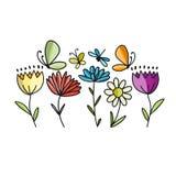 Λουλούδια και πεταλούδες, σκίτσο για το σχέδιό σας ελεύθερη απεικόνιση δικαιώματος