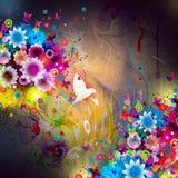 Λουλούδια και πουλί γοητείας τέχνης μουσικής grunge illustrationwith Στοκ Φωτογραφίες