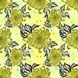 Λουλούδια και φύλλα του χρυσάνθεμου η κάρτα φθινοπώρου εύκολη επιμελείται τις διακοπές λουλουδιών τροποποιεί στο διάνυσμα waterco Στοκ Εικόνες