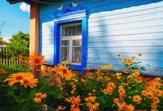 Λουλούδια μπροστά από τα παράθυρα του παλαιού σπιτιού ΘΕΡΙΝΟ τοπίο στοκ εικόνα με δικαίωμα ελεύθερης χρήσης