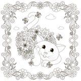 Λουλούδια που βάζουν το χρωματισμό γατών, πλαίσιο λουλουδιών για το χρωματισμό της σελίδας Στοκ Εικόνες