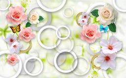 Λουλούδια σε ένα αφηρημένο υπόβαθρο τρισδιάστατες ταπετσαρίες για τους τοίχους τρισδιάστατος δώστε στοκ εικόνες με δικαίωμα ελεύθερης χρήσης