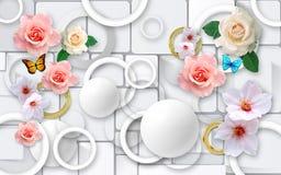 Λουλούδια σε ένα αφηρημένο υπόβαθρο τρισδιάστατες ταπετσαρίες για τους τοίχους τρισδιάστατος δώστε στοκ εικόνες