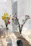 Λουλούδια σε ένα βάζο σε ένα ηλιόλουστο παράθυρο σε ένα αγροτικό σπίτι σε έναν ξύλινο πίνακα και σύγχρονες συσκευές, ένα smartpho στοκ φωτογραφία με δικαίωμα ελεύθερης χρήσης