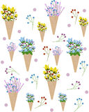 Λουλούδια σε ένα διανυσματικό υπόβαθρο θερινής απεικόνισης σχεδίων κώνων παγωτού διανυσματική απεικόνιση