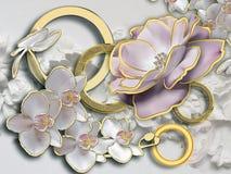 Λουλούδια Στερεοσκοπική ταπετσαρία φωτογραφιών για το εσωτερικό τρισδιάστατη απόδοση στοκ φωτογραφία με δικαίωμα ελεύθερης χρήσης