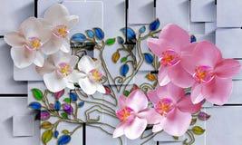 Λουλούδια στο αφηρημένο τετραγωνικό υπόβαθρο Ταπετσαρία φωτογραφιών για το εσωτερικό τρισδιάστατη απόδοση στοκ φωτογραφία