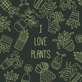 Λουλούδια στο διανυσματικό σύνολο γραμμών φυτών γλαστρών doodle Στοκ Εικόνες