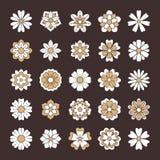 Λουλούδια Doodle καθορισμένα, άσπρο χρυσό χρώμα Όμορφα floral στοιχεία σχεδίου για τη γαμήλια κάρτα Σκηνικό Zentangle, καλοκαίρι Στοκ φωτογραφία με δικαίωμα ελεύθερης χρήσης