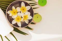 Λουλούδια Frangipani στο κύπελλο, την πετσέτα και τη τοπ άποψη κεριών διανυσματική απεικόνιση