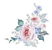 Λουλούδια Watercolor Ανθοδέσμη τριαντάφυλλων Μπλε λεπτά λουλούδια Άσπρα και ρόδινα τριαντάφυλλα διανυσματική απεικόνιση