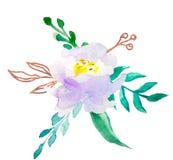 Λουλούδια Watercolor floral απεικόνιση, φύλλο και οφθαλμοί Βοτανική σύνθεση για το γάμο ή τη ευχετήρια κάρτα τριαντάφυλλα αφαίρεσ απεικόνιση αποθεμάτων
