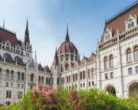 Λουλούδι άνοιξη με την άποψη του Κοινοβουλίου Ουγγαρία, Βουδαπέστη στοκ εικόνα με δικαίωμα ελεύθερης χρήσης