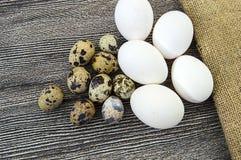 Λουλούδι-διαμορφωμένα αυγά κοτόπουλου και αυγά ορτυκιών Άσπρη στάση αυγών κοτόπουλου και αυγών ορτυκιών δίπλα-δίπλα σε ένα ξύλινο Στοκ εικόνες με δικαίωμα ελεύθερης χρήσης