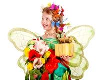 λουλούδι παιδιών πεταλούδων Στοκ Φωτογραφίες