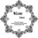 Λουλούδι πλήθους, ευπρόσδεκτος τροπικός εγγραφής για τη ευχετήρια κάρτα r απεικόνιση αποθεμάτων